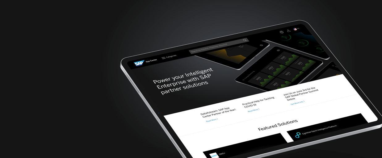 Screenshot of SAP App Center homepage on a tablet device in front of black background