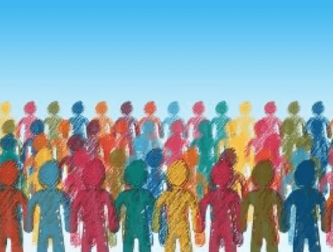 Illustration of multiple human body silhouette, all different colors, representing community and inclusion